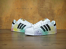 Женские кроссовки AD Superstar Rainbow Paint Splatter White . ТОП Реплика ААА класса., фото 3