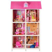 Большой дом для кукол, 3 этажа, 6 комнат, полный набор мебели, 3 куклы в комплекте