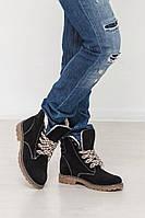 Зимние замшевые женские ботинки Комфорт черные, фото 1