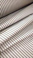Ткань для постельного белья, ранфорс (хлопок) Полоска серая на белом