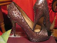 Туфли женские нарядные каблук новые цвет темное серебро открытый носик 39 р