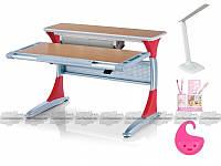 Детская парта Mealux BD-333, Стол столешница - бук / накладки на ножках - красные (BD-333 BG/R)