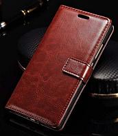 Кожаный чехол-книжка для Huawei Ascend P8 Lite (2015) коричневый