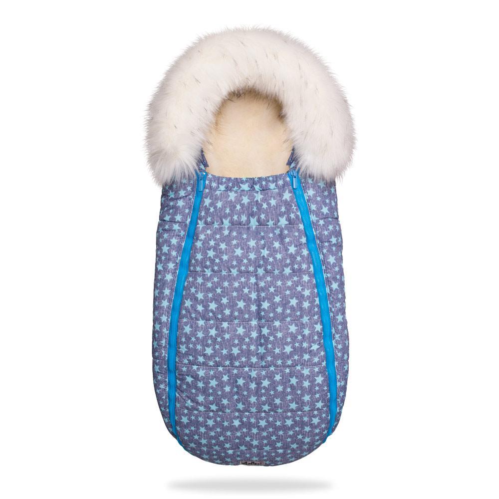 Зимний конверт-кокон на овчине Baby XS, До Речі Голубые звезды (с опушкой)