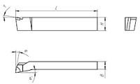 Резец токарный подрезной отогнутый  16х16х100 ВК8 левый внутризавод  на VSETOOLS.COM.UA