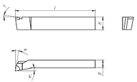 Резец токарный подрезной отогнутый 25х16х140 Т15К6 левый, внутризавод.  на VSETOOLS.COM.UA