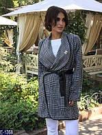 Шерстяное женское пальто Шанель черно-белого цвета.  Арт - 18047