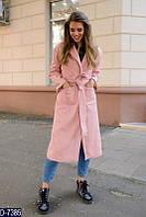 Молодежное кашемировое женское пальто ниже колен светло-розового цвета.  Арт - 18048