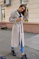 Молодежное кашемировое женское пальто ниже колен светло-серого цвета.  Арт - 18048