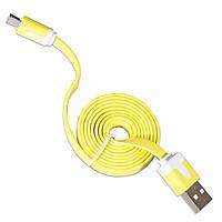 Кабель Lesko USB 2.0 плоский microUSB/USB 1m Желтый для смартфона планшета