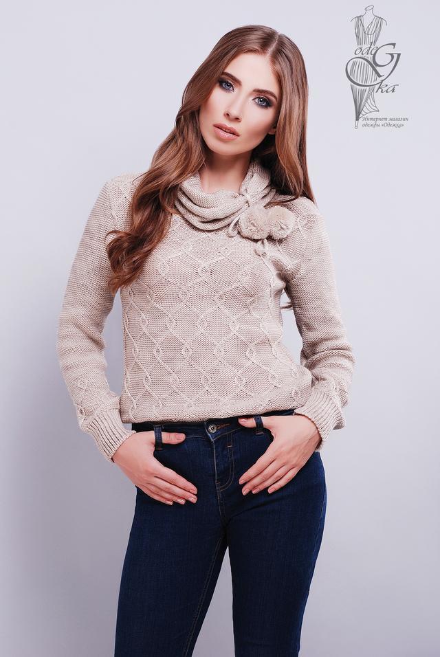 Цвет беж Вязаных женских свитеров Таня