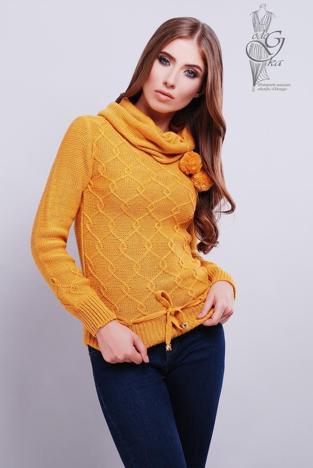 Цвет горчица Вязаных женских свитеров Таня