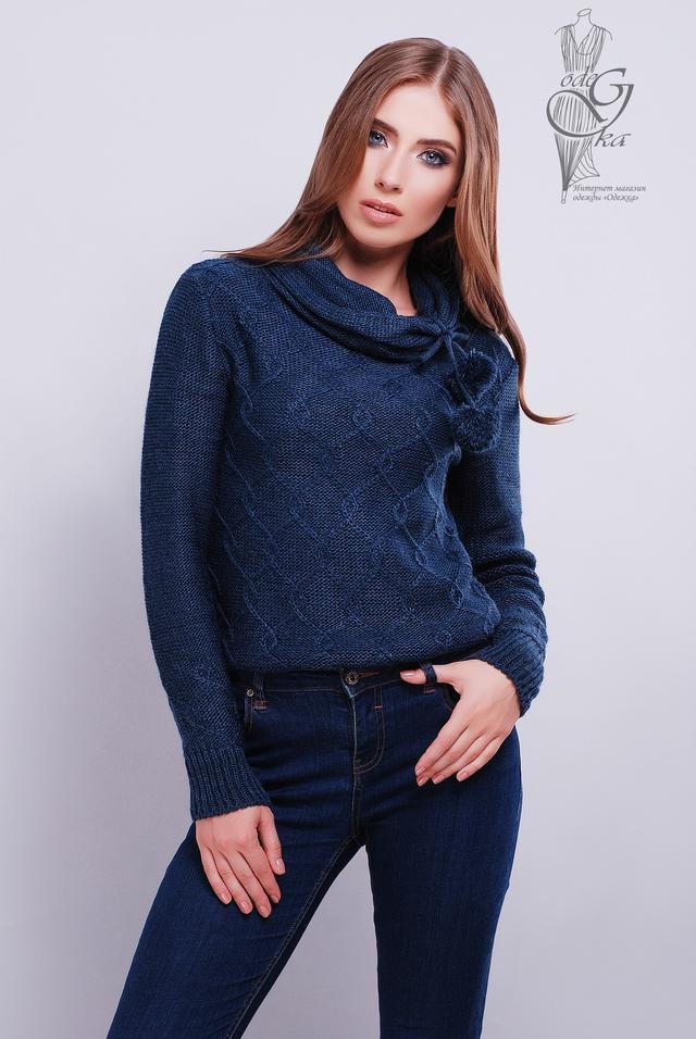 Синий цвет Вязаных женских свитеров Таня