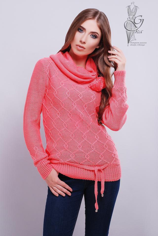 Цвет Коралл Вязаных женских свитеров Таня