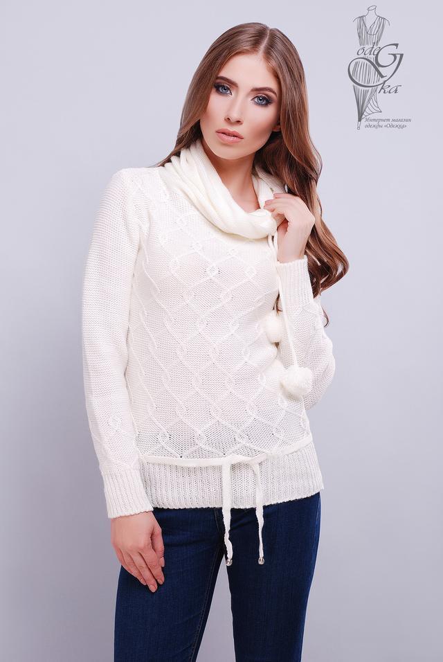 Цвет Молоко Вязаных женских свитеров Таня