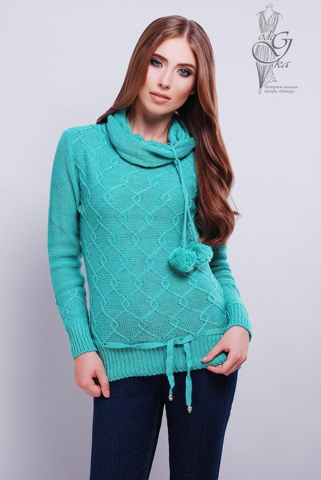 Бирюзовый цвет Вязаных женских свитеров Таня