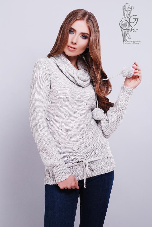Светло-серый цвет Вязаных женских свитеров Таня