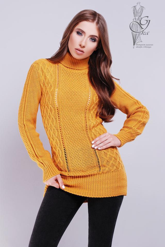 Цет горчица Вязаных женских свитеров туник Лена