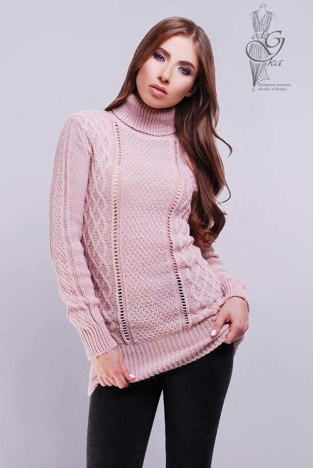 Цвет пудра Вязаных женских свитеров туник Лена