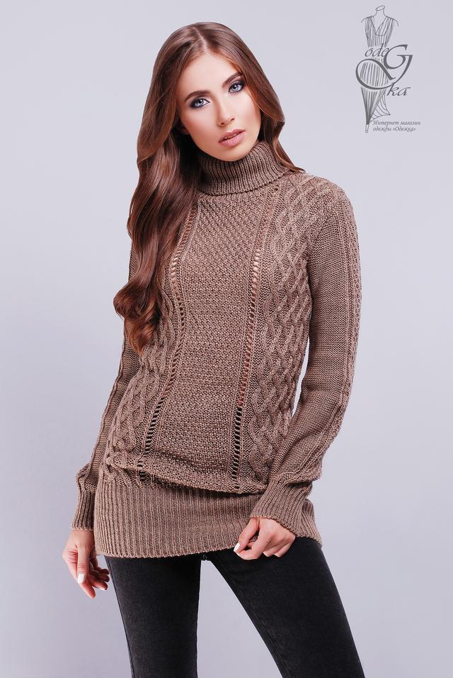 Цвет кофе Вязаных женских свитеров туник Лена
