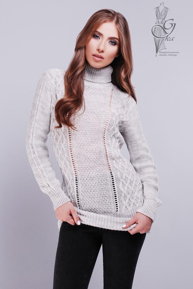 Светло-серый цвет Вязаных женских свитеров туник Лена