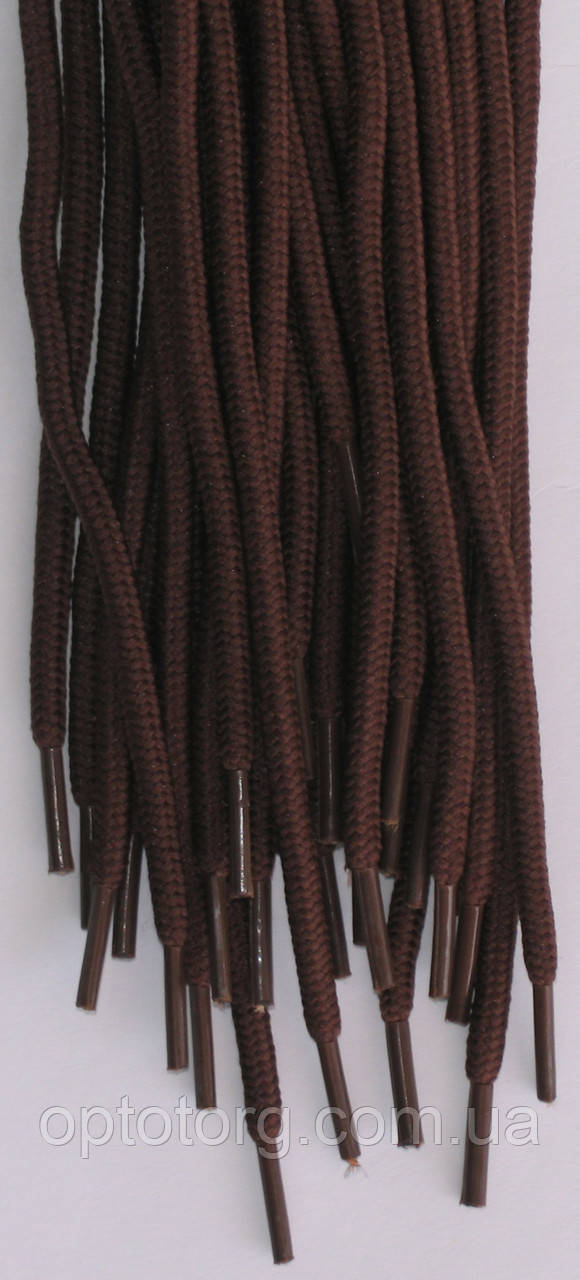Шнурки круглые темно коричневые 150см синтетика