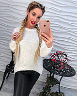 Женский красивый свитер/джемпер с люрексной нитью удлиненный сзади (2 цвета) белый, 42-44