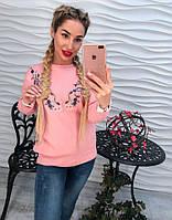 Женский красивый свитер с вышивкой (3 цвета) розовый, 42-44
