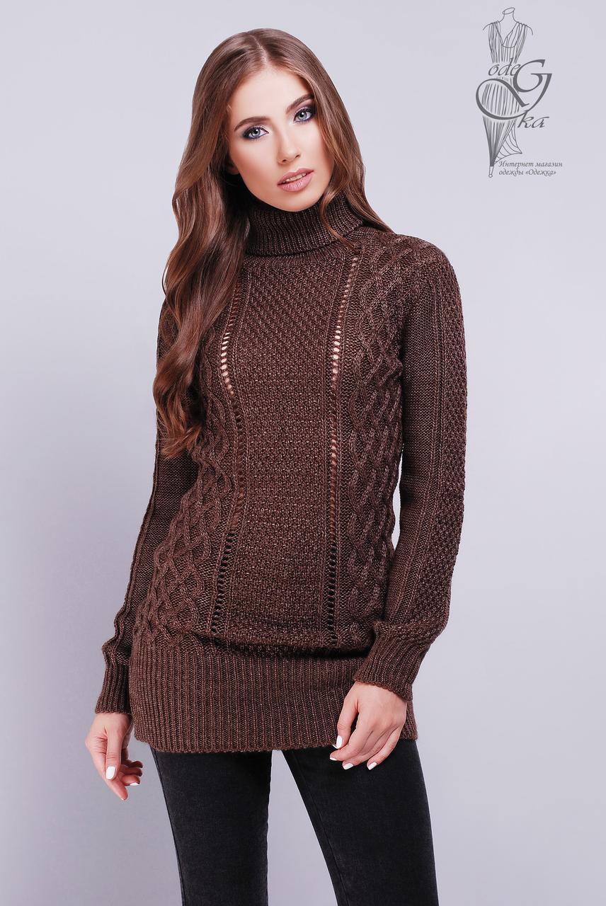 Вязаные женские свитера туники Лена-4 шерсть-акрил