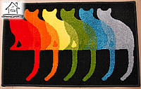 Жаккардовый коврик в прихожую Коты на черном 80*50 см