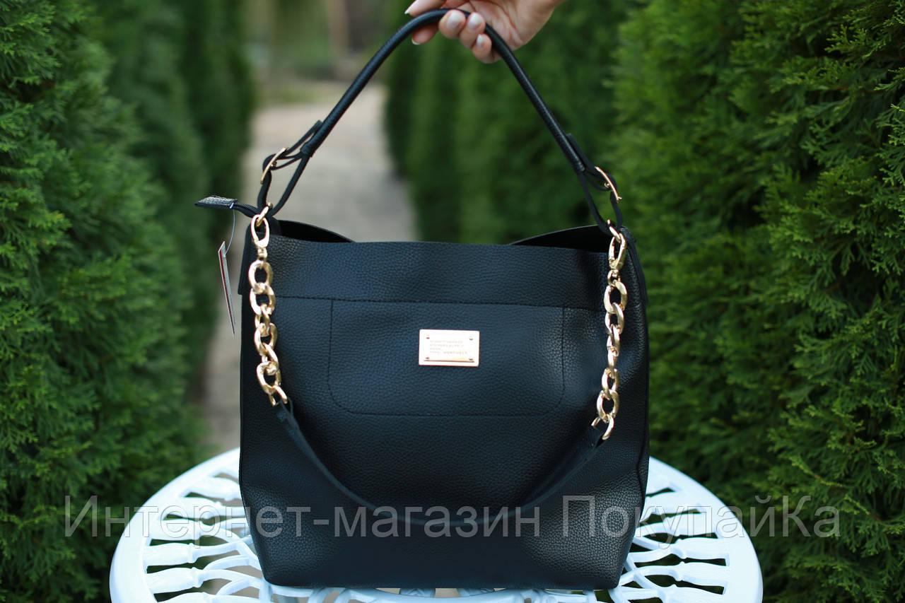 Женская кожаная сумка с цепями   Kira  цвет Черный  - Интернет-магазин ПокупайКа в Николаеве