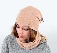 Трикотажная шапочка с шарфиком хомут на флисе, фото 1