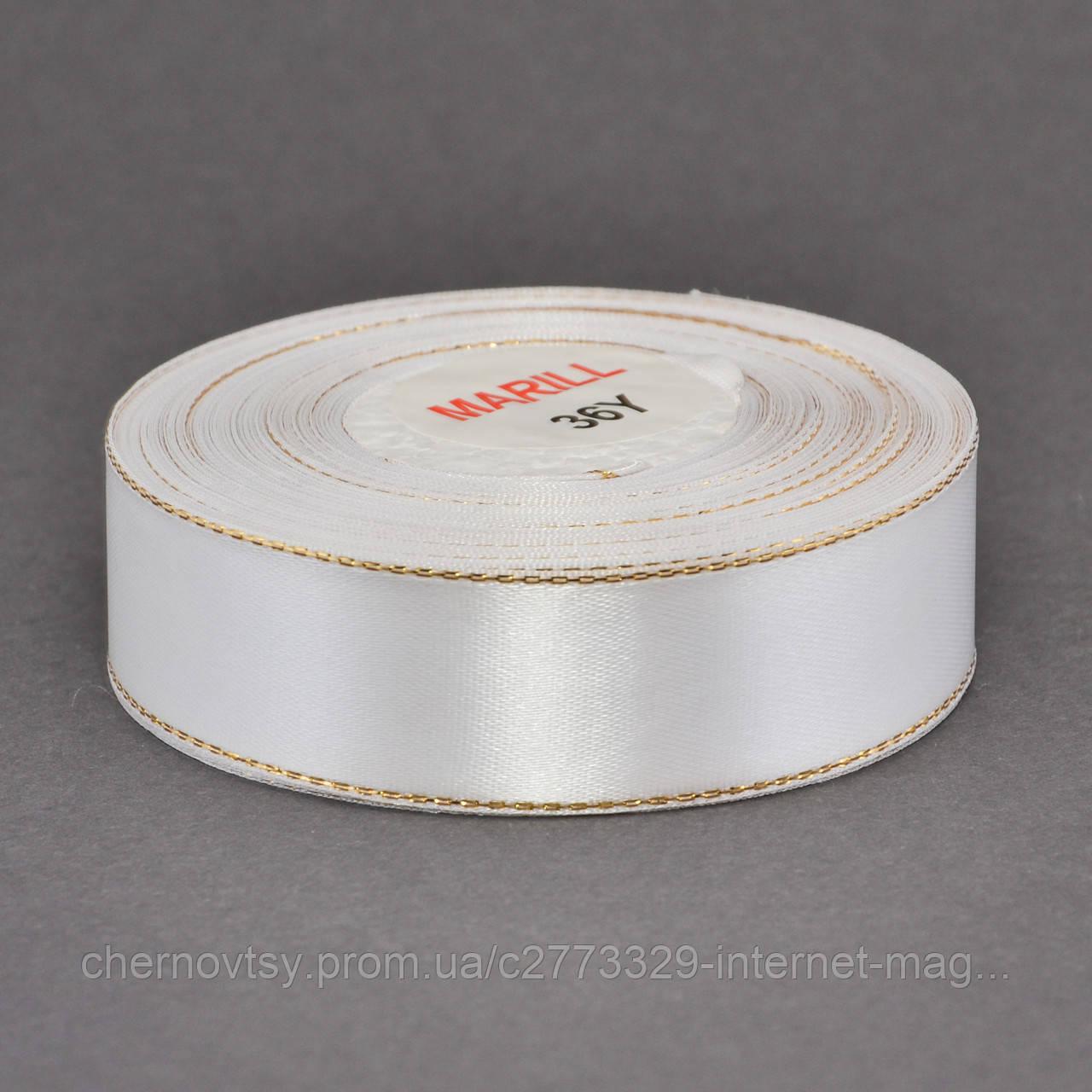 Лента атлас с люрексом 0.9 см, 33 м, № 01