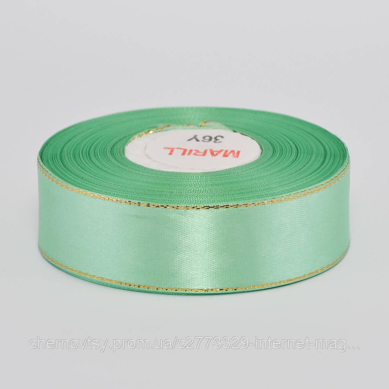 Лента атлас с люрексом 0.9 см, 33 м, № 128