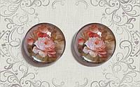 Стеклянный кабошон 2.5 см Розы (цена за 1 шт)
