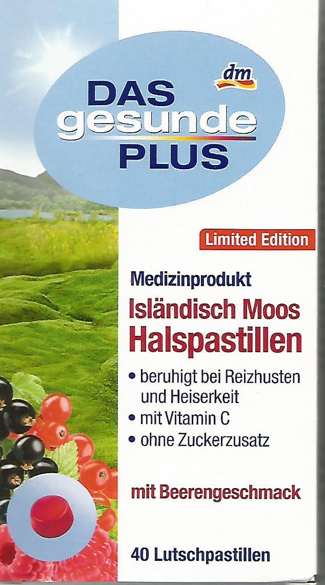 Леденцы от боли в горле Das gesunde Plus Isländisch Moos mit Beerengeschmack, 40 шт - интернет- магазин «BRAND stock» в Тернопольской области