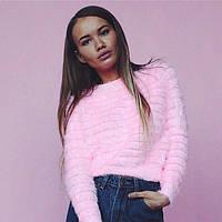 Свитер травка женский укороченный розовый, магазин одежды