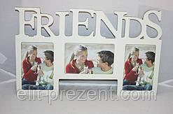 Фоторамка Friends на 3 фотографии деревянная