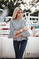 Женская Рубашка лен рукав с воланам, фото 1