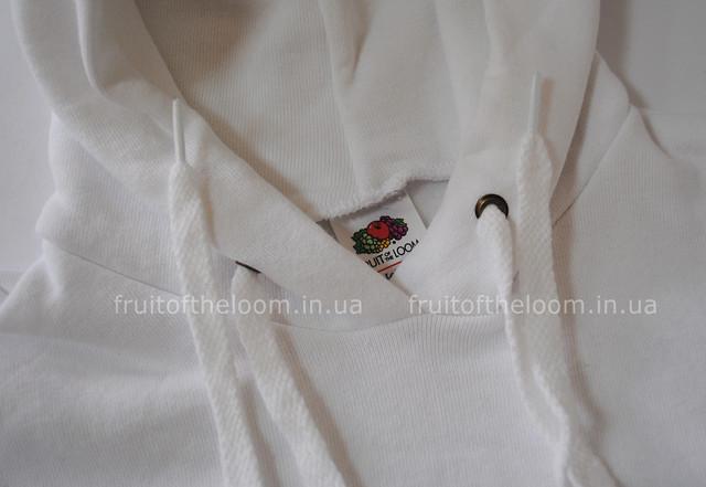 Белая детская классическая толстовка с капюшоном