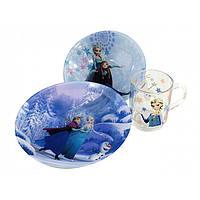 """Сервиз детский стекло 3 предмета """"Luminarc.Disney Frozen"""" (2 тарелки, кружка) №88050 / 73039 / L8224"""