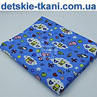Фланель с мишками и цветочками на синем фоне, ширина 180 см