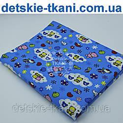 Фланель польская с мишками и цветочками на синем фоне, ширина 160 см
