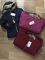Плотная удлиненная куртка для девочек на меховой подкладке оптом, Nice Wear, 8-16 pp., арт. G-19