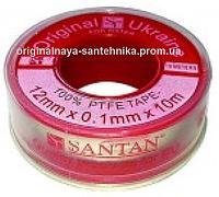 Фум лента SANTAN красная для воды 12 мм*0,1 мм*10 м
