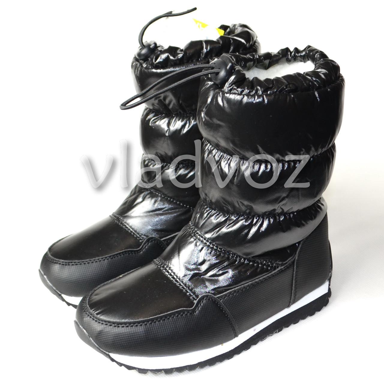 Модные дутики на зиму для девочки сапоги черные 31р.
