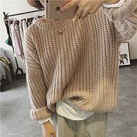Женский модный обьёмный свитер крупной вязки (2 цвета), фото 1