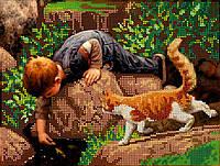 Схема для вышивки бисером POINT ART Мальчик с котом, размер 25х19 см