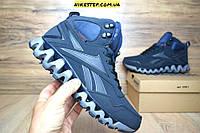 Зимние мужские кроссовки+ботинки Reebok Zig Wild TR2 синие на меху