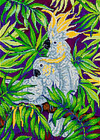Схема для вышивки бисером POINT ART Белые попугаи, размер 25х35 см